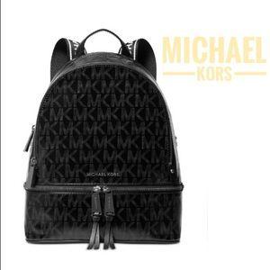 Michael Kors Black Glossy Rhea Zip M Backpack Bag